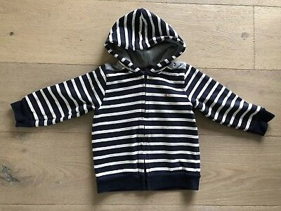 Petit Bateau Toddler boy top  shirt with Zipper hood navy white stripe 18-24 Mo
