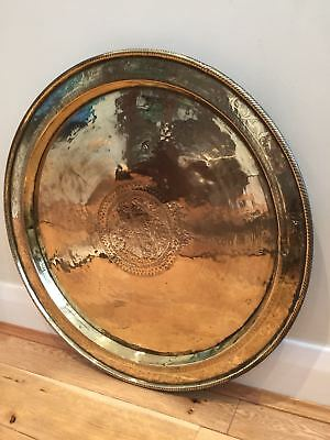 Antique Brass Engraved Tray or Table Top