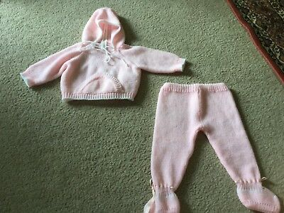 Vintage Baby Size 3-6 Months 2 Piece Set Light Pink Pants Pull Over Sweater Port