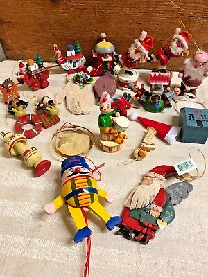 Vintage mixed lot of wooden Christmas ornaments