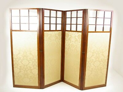 Walnut Folding Screen, Room Divider Screen, 4 Panels, Scotland 1890, B1266