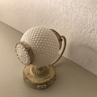 Antique Art Deco painted metal milk glass shade electric wall sconce