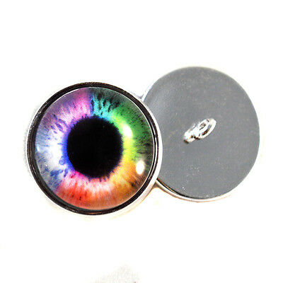 Colorful Rainbow Sew On Glass Eyes 16mm Button Loops for Stuffed Animal Plushies