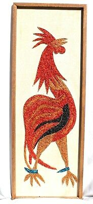 Vintage Mid Century Wall Art Pebble Mosaic Roosters Fighting Cock Rooster 1