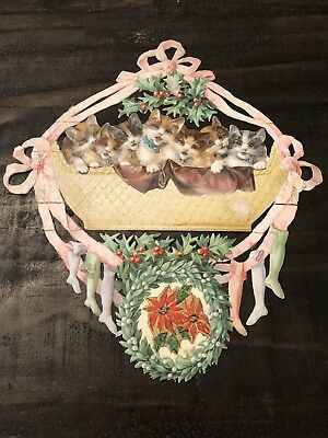 Antique Christmas Cats Kittens German? Die Cut with Stockings Mistletoe
