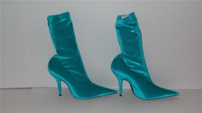 7f104981670  995 Balenciaga Knife Turquoise Velvet Velours Ankle Boots Heels Shoes Size  39