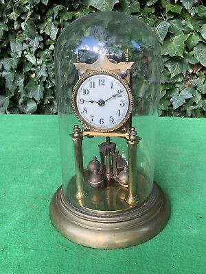 Vintage Glass Done 400 Day Anniversary Torsion Clock, Jahresuhrenfabrik? Gustav?