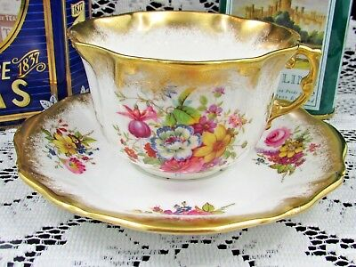 Hammersley Lady Patricia Artist Signed Heavy Gold Tea Cup And Saucer