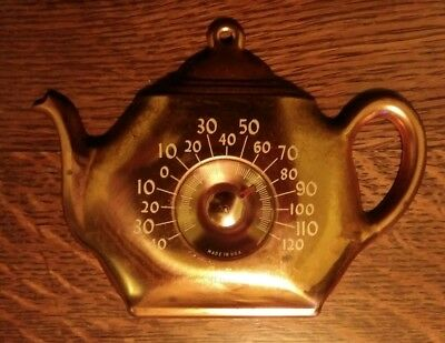 Vintage Cooper Hanging Teapot Thermometer Copper w/White Numbers