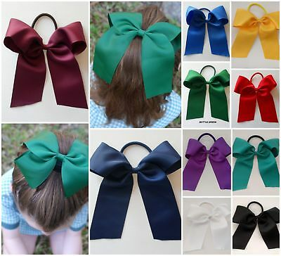 School Colour Hair Accessory Cheer Bow Large Ponytail Elastic Blue Green Red