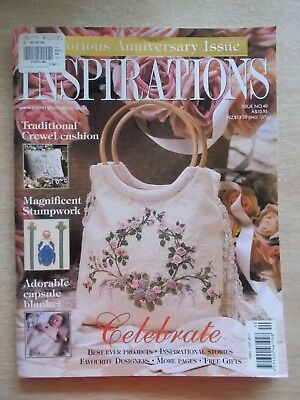 Inspirations #40~Embroidery Projects~Bag~Crewel~Stumpwork~Baby Blanket~Angel~Fox