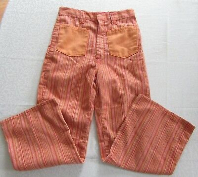 Vintage Girls Bell Bottom Flare Jeans Size 10 or 12? Hippy 70s Orange Striped