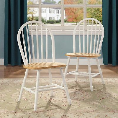 Farmhouse Dining Room Chairs Set of 2 Kitchen Wood Windsor Country White Oak 2Pc