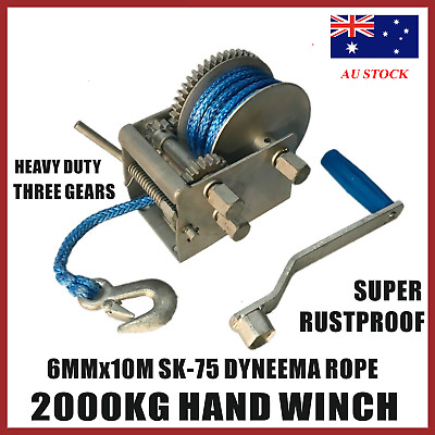 2000kg Hand Winch Dyneema Rope 3speed- Boat Car Marine Trailer Blue