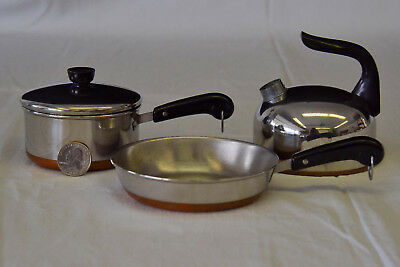 Vintage Child's Set Of Revere Ware Copper Bottom Stainless Cookware
