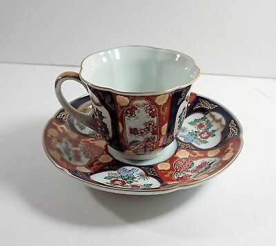 Japanese Gold Imari Hand Painted Tea Cup & Saucer / Makers Mark / Blue Gold Red