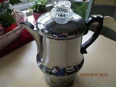 Vintage Farberware Art Deco Chrome Coffee Percolator W/ Original Cord