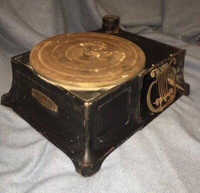 Rare antique universal cast iron phonograph record player 78 For Restoration