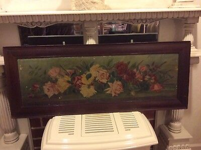 Antique Large Oil Painting on Canvas of Roses - 114 years old - Signed and Dated