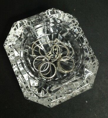 Vintage Heavy Thick French Cut Crystal Jewelry Casket Trinket Box And Clock