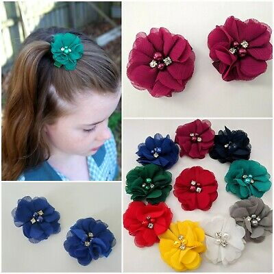 2 School Colour Hair Accesssory Hairclip Pair Flowers Red Blue Green Yellow