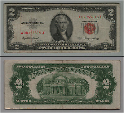 1953 $2 Dollar Bill Old Us Note Legal Tender Paper Money  Red Seal =B174