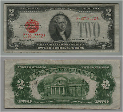 1928G $2 Dollar Bill Old Us Note Legal Tender Paper Money  Red Seal =B17