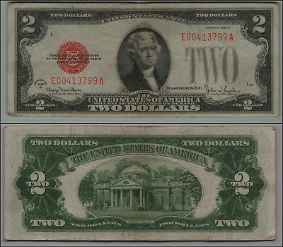 1928G $2 Dollar Bill Old Us Note Legal Tender Paper Money  Red Seal =B18