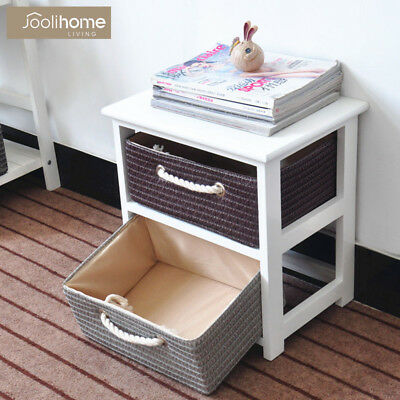 2 Drawer Bedside Cabinet with Baskets Table NightStand Woven Storage Unit Chest