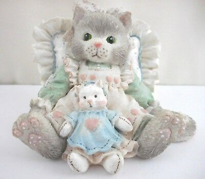 """Calico Kittens Enesco 1992 """"Friends are Cuddles of Love"""" Resin Cat Figurine"""