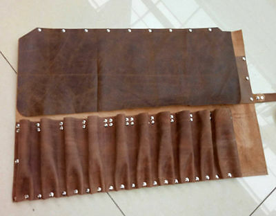 10 Pocket Japanese Chef's Knife Roll Bag Leather Knife Roll Carry Case Wallet