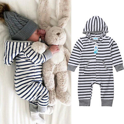 AU Newborn Infant Baby Boy Girl Romper Bodysuit Jumpsuit Zipper Outfits Clothes