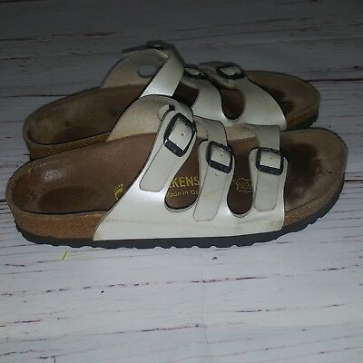 2ee6dc109e15 Birkenstock Florida Soft Foot Bed Women White Three Straps Sandals UK size  36