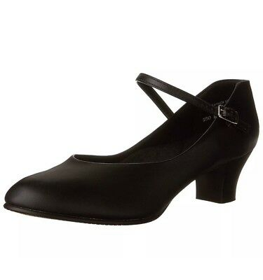 """Capezio Footlight Character Shoe 2"""" Inch Black Leather Size 7 100%NEW"""