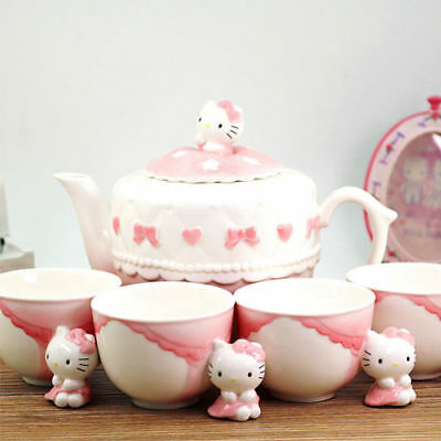 Sanrio Hello Kitty Figures Ceramic 1 Teapot + 4 Cups Tea Set Pink Bow 5 PCS Set