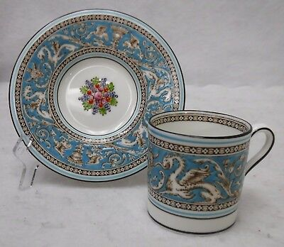 """WEDGWOOD china FLORENTINE TURQUOISE pattern Demitasse Cup and Saucer Set 2-1/4"""""""