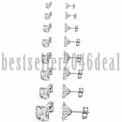 8 Pairs Stainless Steel Mens Womens Stud Earrings Square Cubic Zirconia 3mm-10mm
