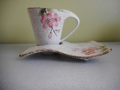 Cup, Saucer &  Plate Trio Stone Texture & Colour Pink Flowers Swan Neck Handle