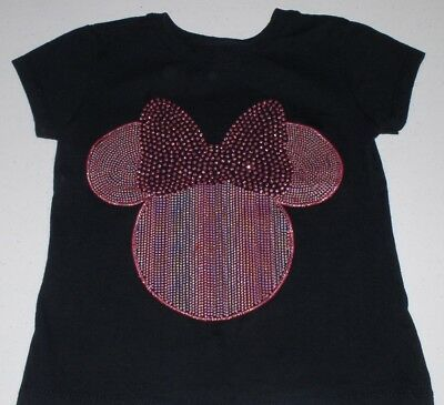 Very Cute Little Girls Black Minnie Mouse Shirt Top Disney Store Size Xs 4 Shine