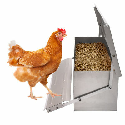 Automatic Chicken Feeder Treadle Self Open Aluminium Feeder Feed Chook Poultry