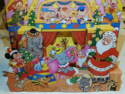 vintage walt disney christmas advent calendar mickey mouse santa claus circus - Disney Christmas Gifts