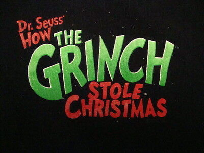 How The Grinch Stole Christmas Dr. Suess Funny Movie Black T Shirt XL