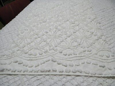 Vintage C Craft Soft White WR Chenille Bedspread Quilting Craft Fabric  A 1013