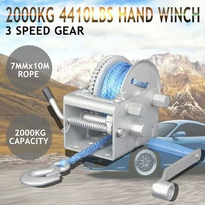 Hand Winch 4410LBS 2000KG Synthetic Dyneema Rope Boat Car Trailer 3 Speed 10M