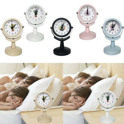 Classic Non Ticking Round Alarm Clock Sweep Second Hand Rotating Clock Time