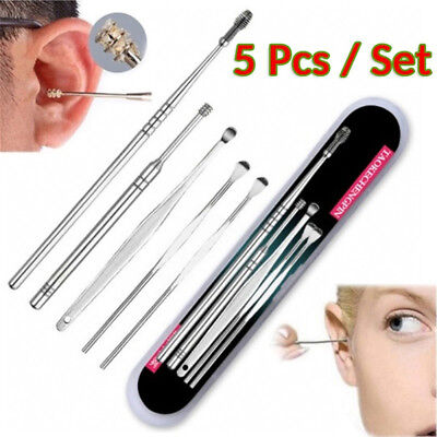 5pcs/set Stainless Steel Ear Pick Wax Cleaner Earpick Curette Earwax Removal