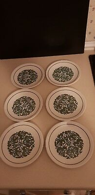 VINTAGE RIDGWAY WARE MARTINIQUE DESIGN 6 x side plates