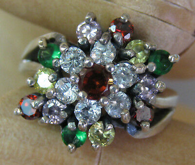 Estate Sterling Silver Woman's Dress Ring Red Green Yellow Pink Stones Beauty
