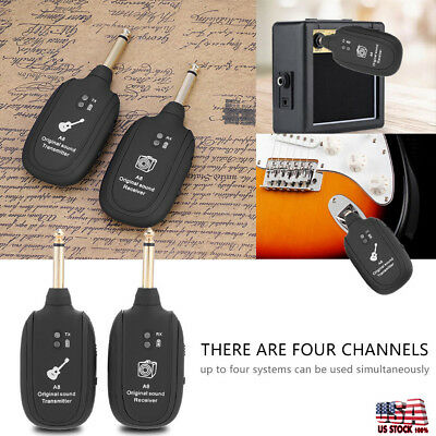 Portable wireless audio transmitter receiver system for electric guitar bass ele