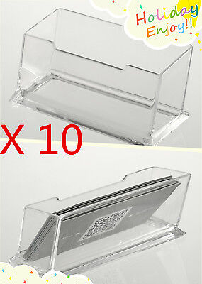 10 X Clear Desktop Business Card Holder Display Stand Acrylic Desk Shell HT